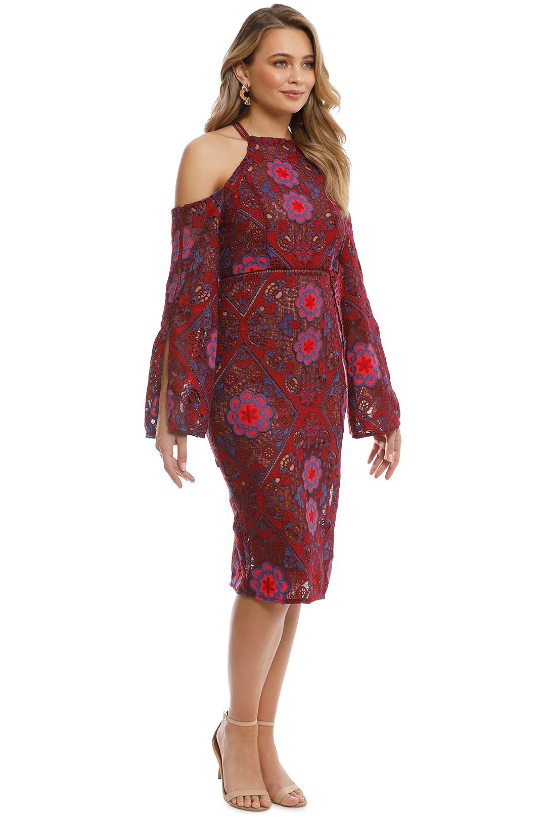 Elliatt - Renaissance Dress - Red Floral - Side