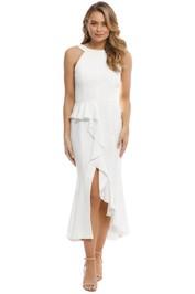 Nicholas - Crepe Asymmetric Ruffle Dress - Ivory - Front