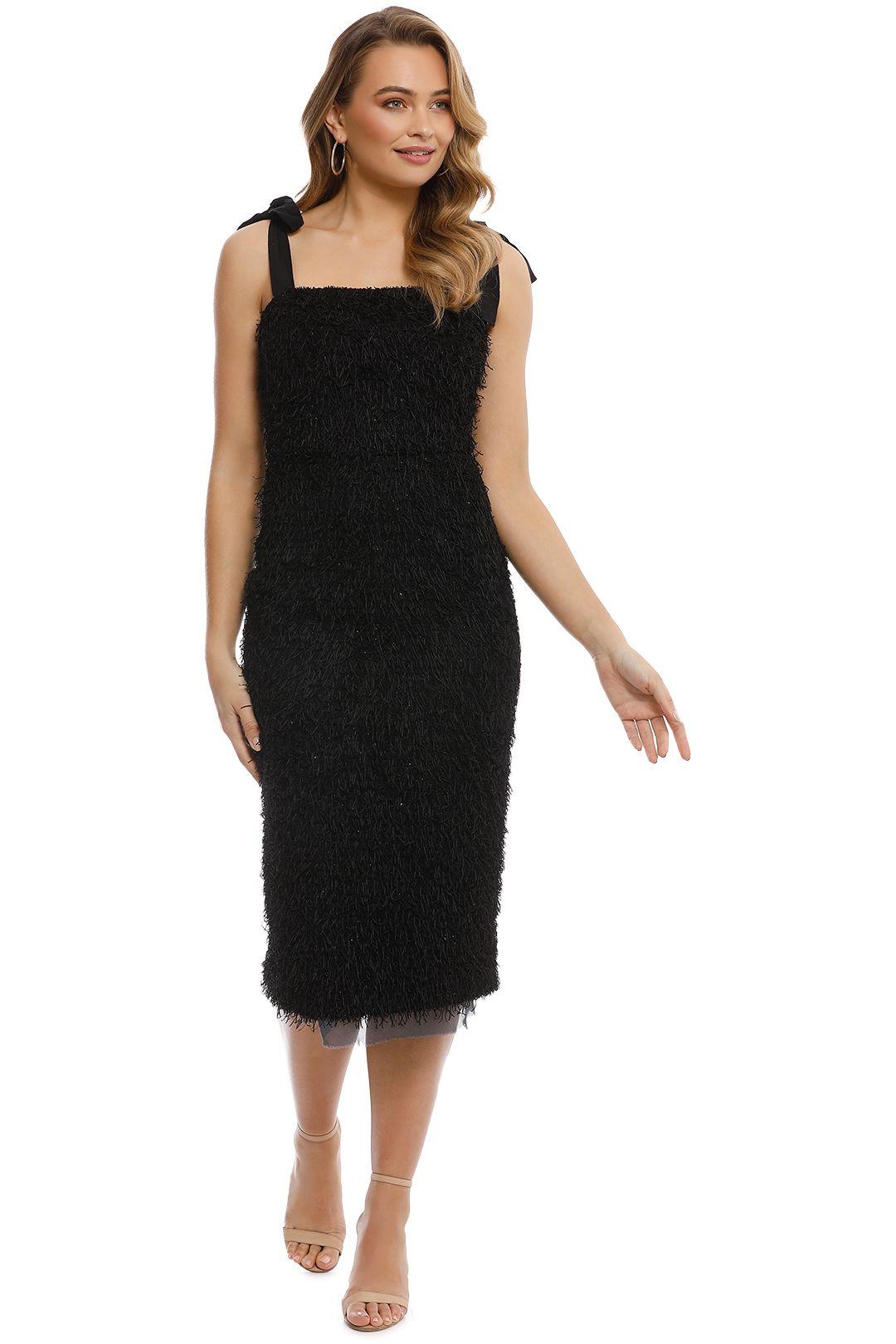 Rebecca Vallance - Martina Tie Shoulder Midi - Black - Front