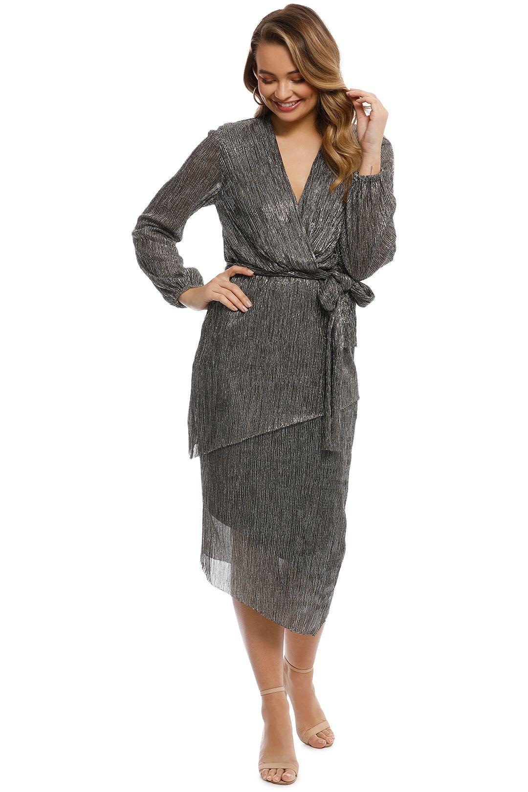 Rebecca Vallance - Paparazzi Drape Long Sleeve Dress - Front