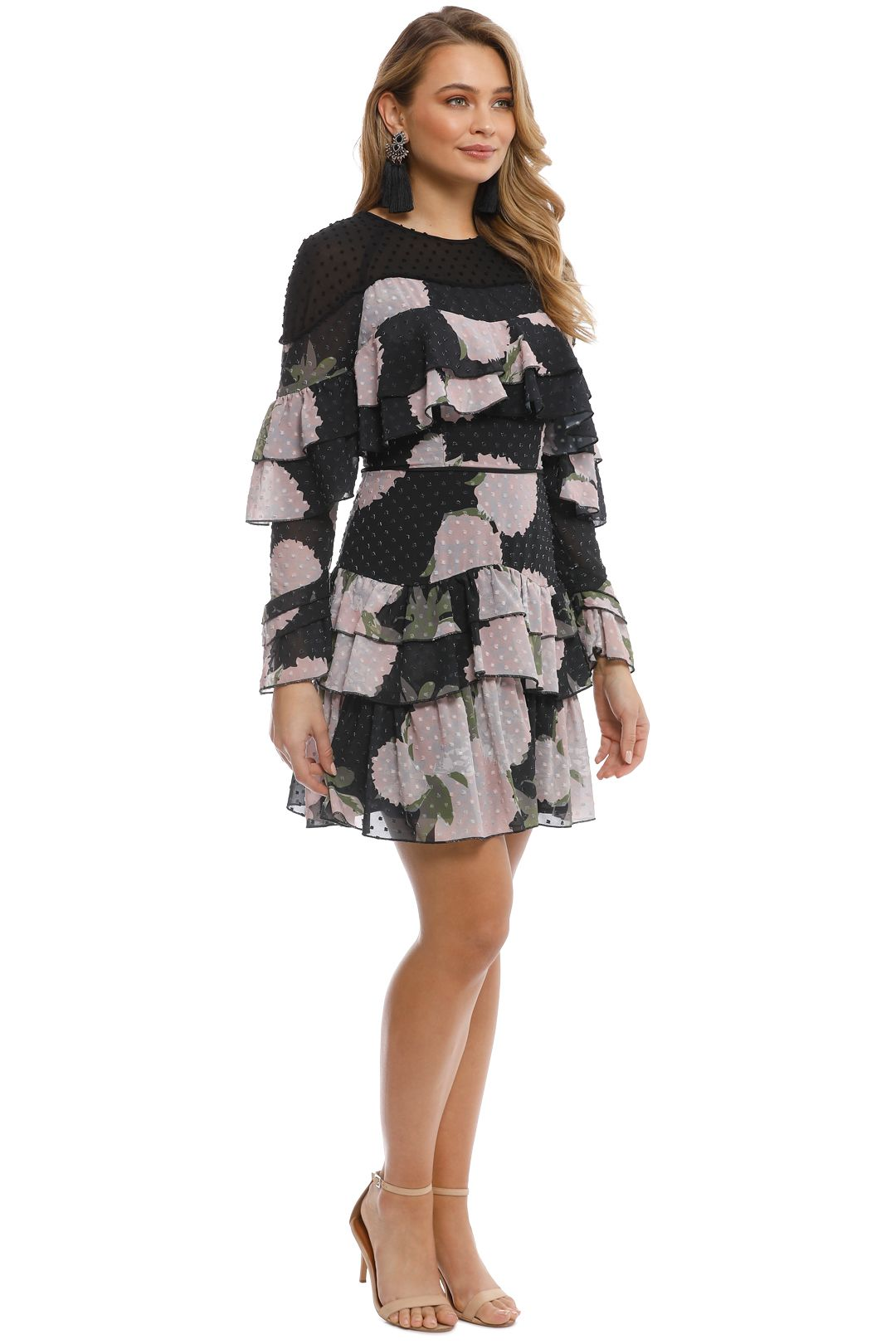 Talulah - New Woman Ruffle Mini Dress - Black Floral - Side