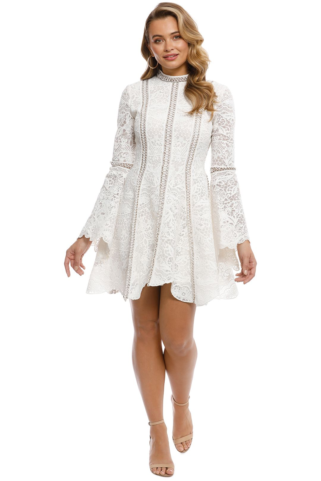 Thurley - Pearly Trim Dress - Ivory -front