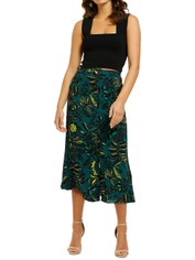 Whistles-Assorted-Leaves-Print-Skirt-Green-Multi-Front