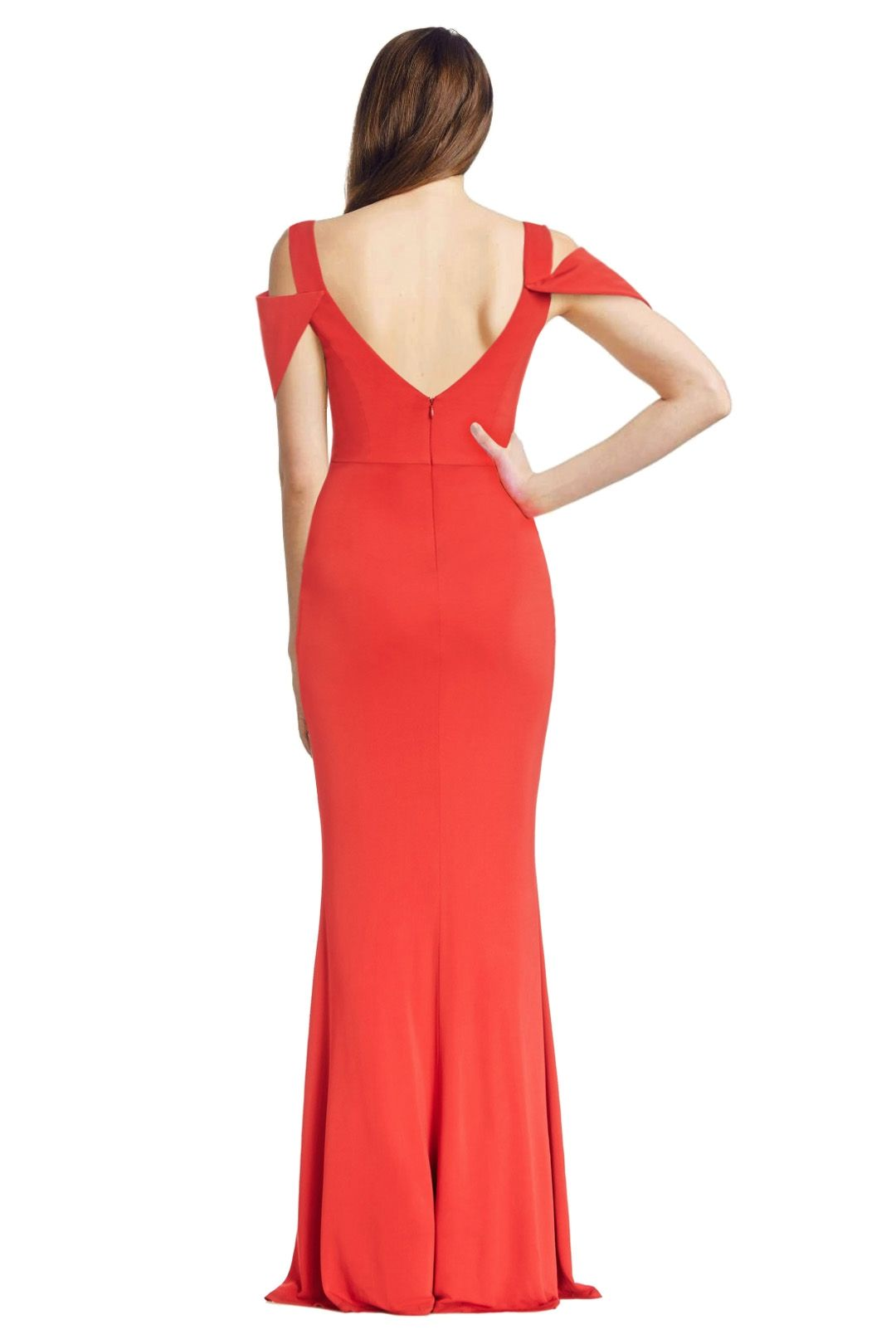 ABS by Allen Schwartz - Triangle Sleeve Deep V Neck Gown - Poppy Red - Back