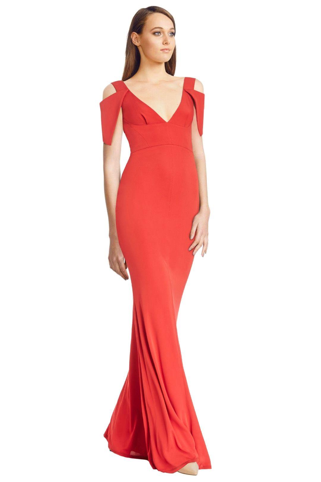 ABS by Allen Schwartz - Triangle Sleeve Deep V Neck Gown - Poppy Red - Side