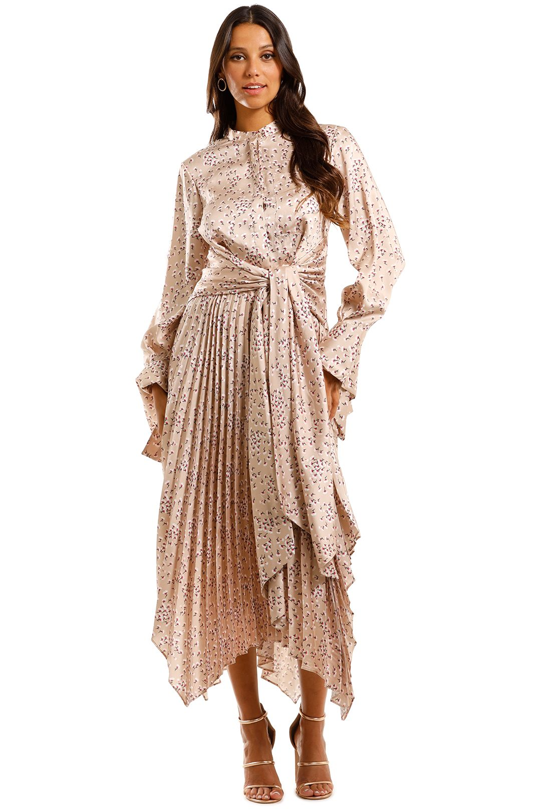 Acler Chase Dress Asymmetric Skirt Abstract Print in Cream