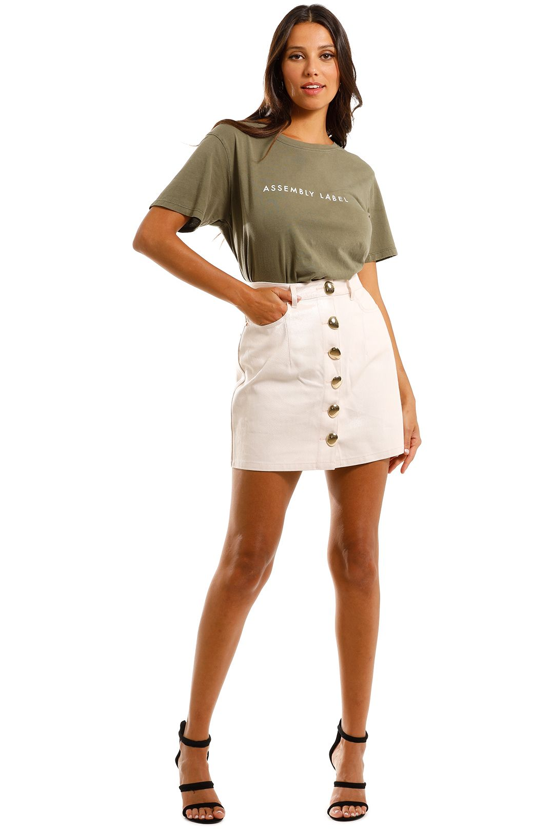 Acler Hiller Denim Skirt Mini in White Pockets