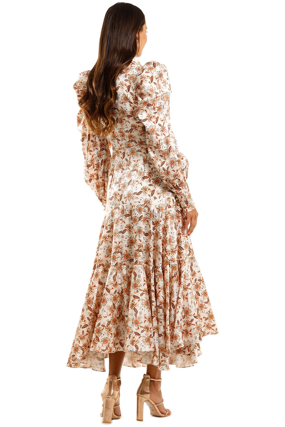 Acler Horrock Long Dress Floral Boho Handkerchief Skirt