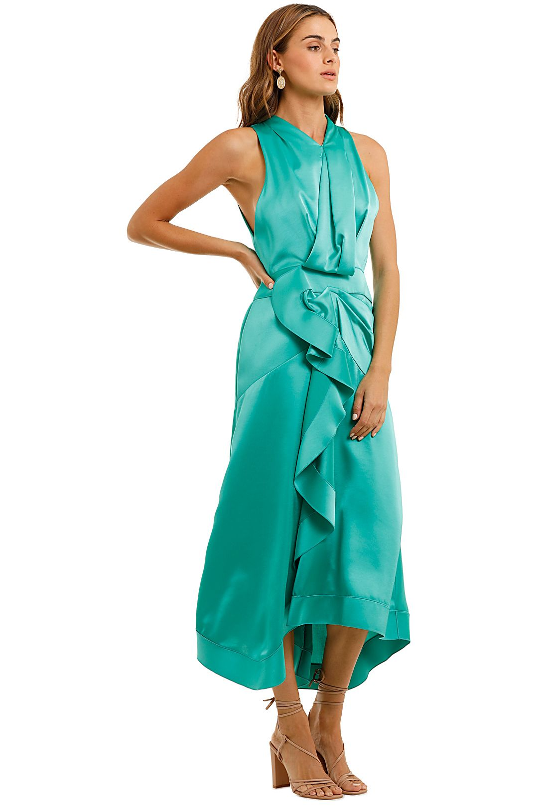 Acler Millbank Dress Green Ruffles