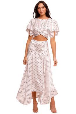 Acler Palmera Top and Skirt Set Cream Polka cropped