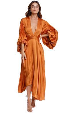 Acler Palms Dress Turmeric pleat orange