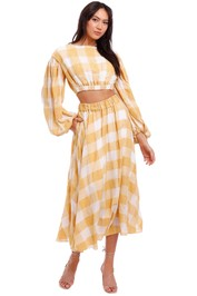 Acler Sutherland Top and Skirt Set mustard white