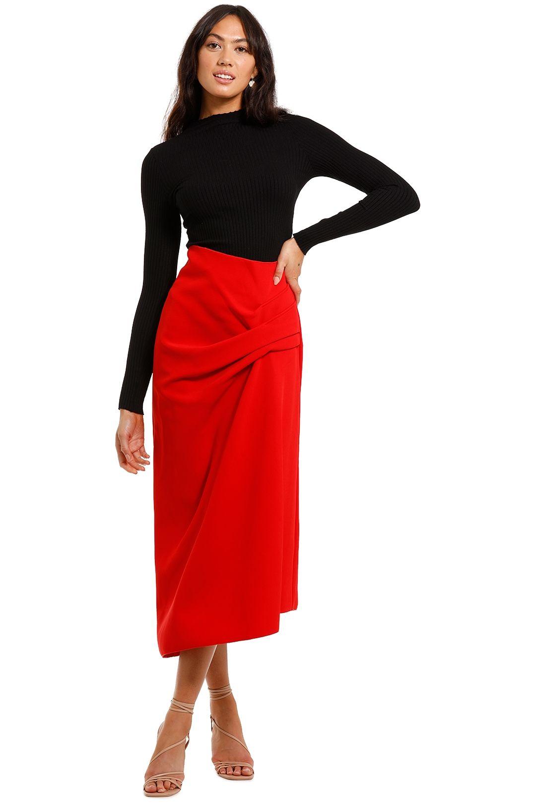 Acler Thistle Skirt Red asymmetric