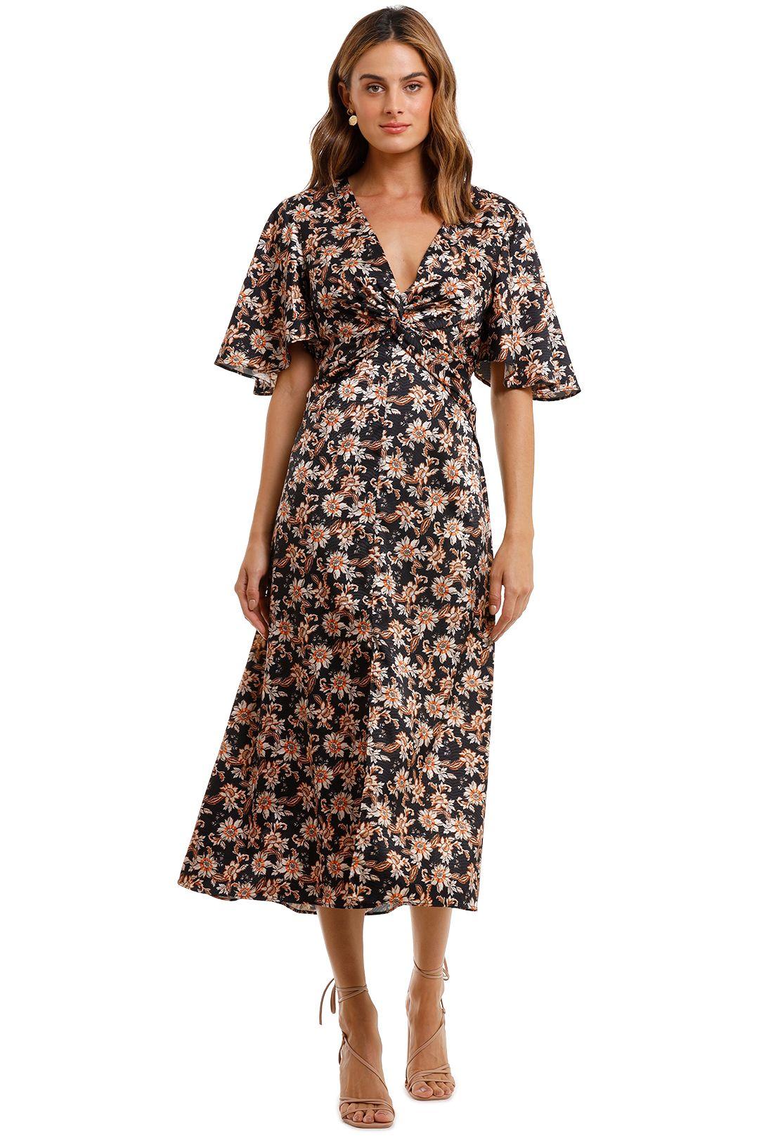 Acler Tippet Long Dress short flutter sleeve