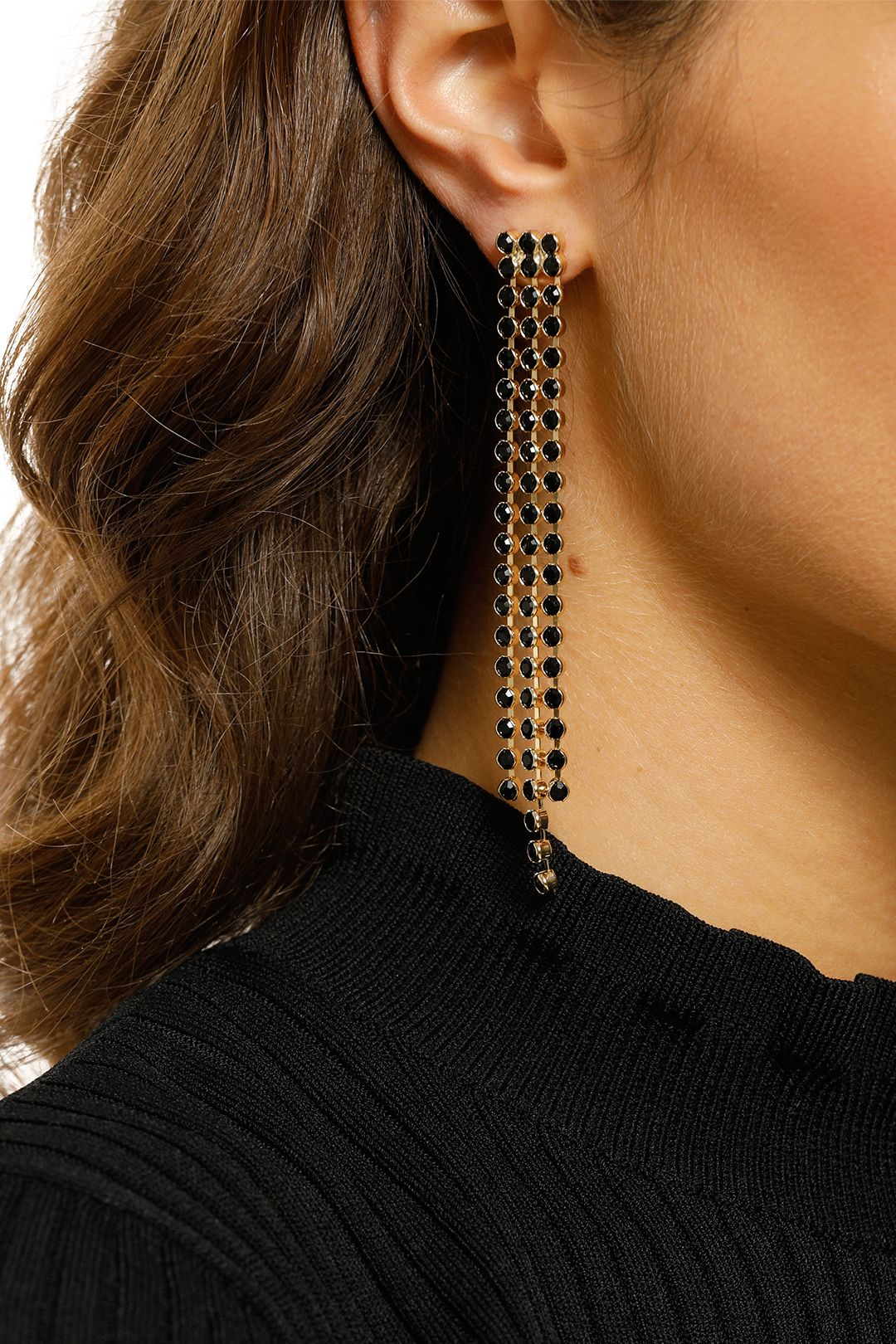 Adorne-Diamante-Chain-Drop-Earrings-Black-and-Gold-Product