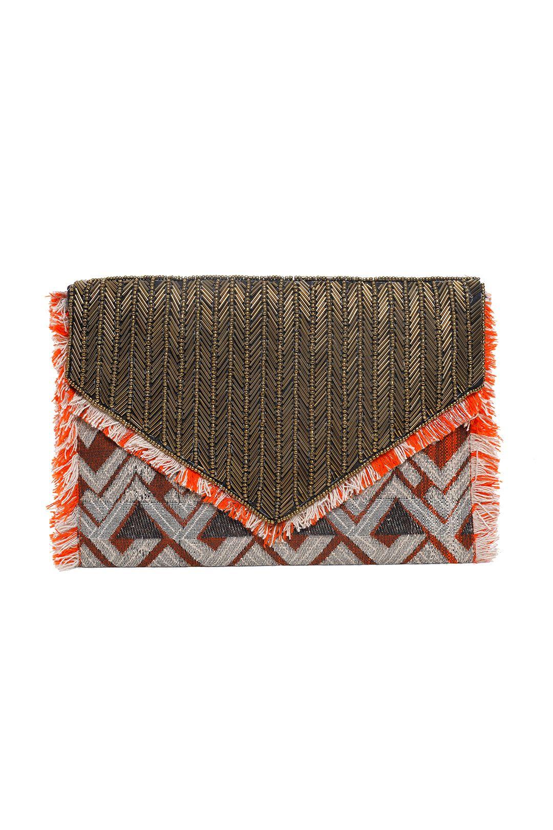 Adorne - Aztec Beaded Tassel Clutch - Orange - Front