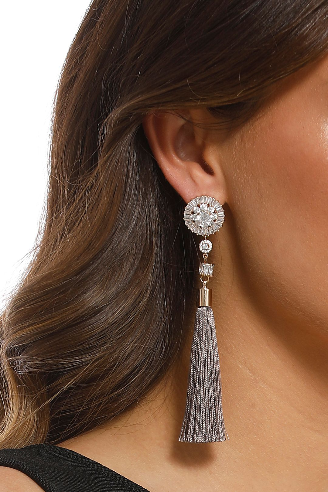 Adorne - Baguette Jewel Top Tassel Earrings - Gold Grey - Product