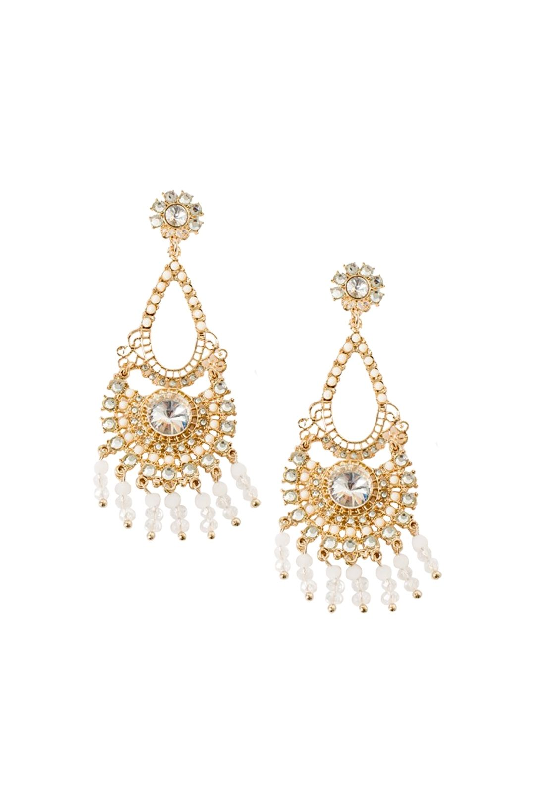 Adorne - Beaded Droplets Diamante Earring - White Gold - Front