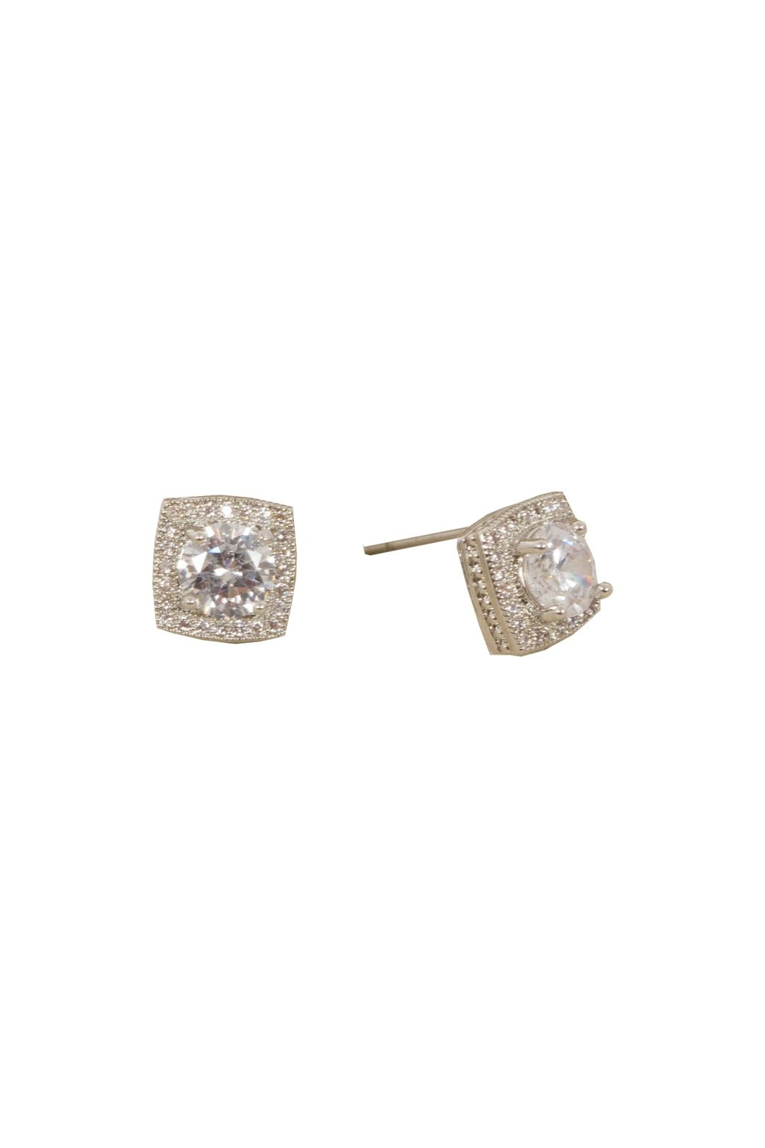 Adorne - Cubic Zirconia Mini Square Stud Earring - Silver - Front