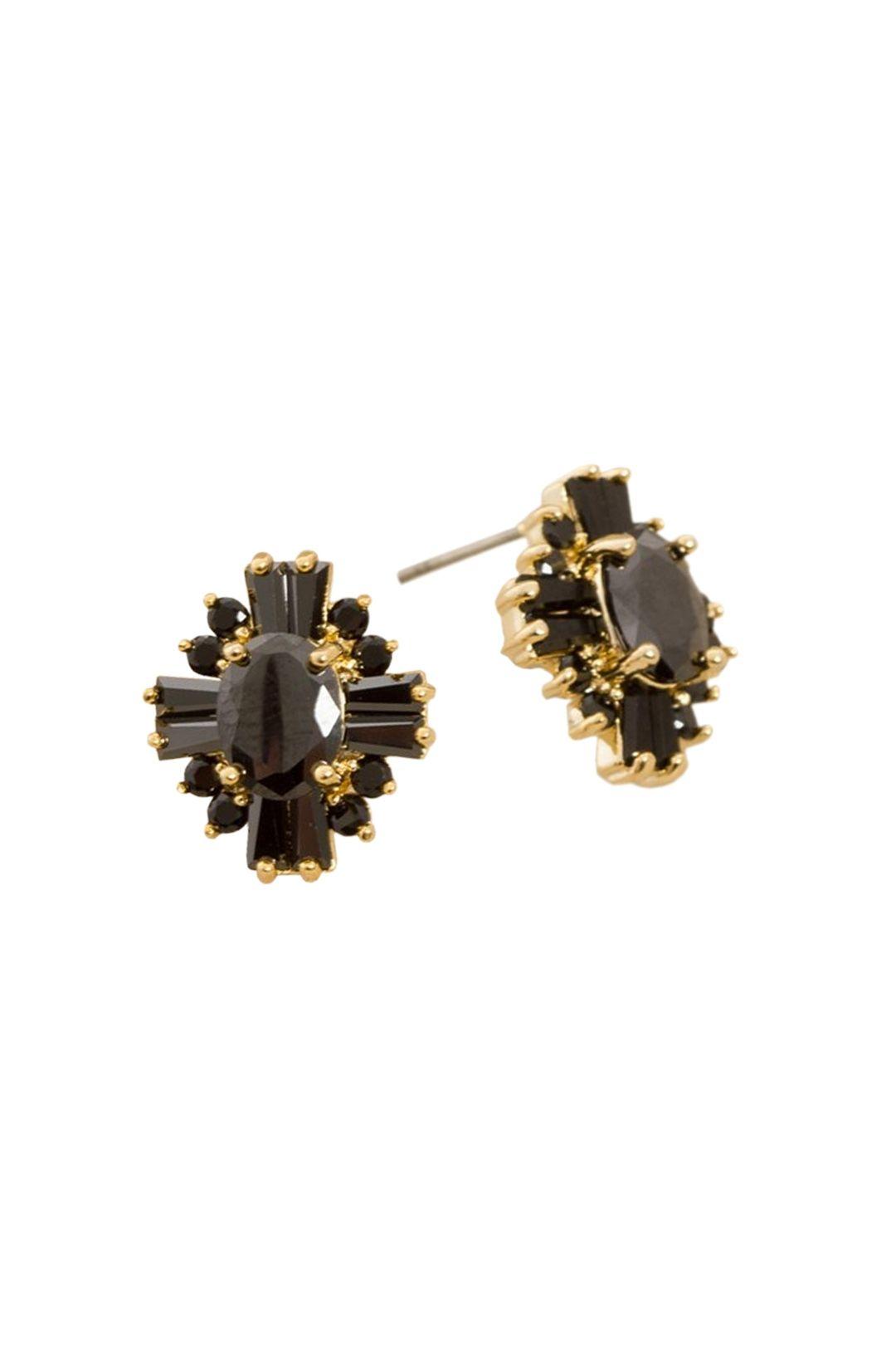 Adorne - CZ Deco Vintage Diamante Stud Earring - Black - Front