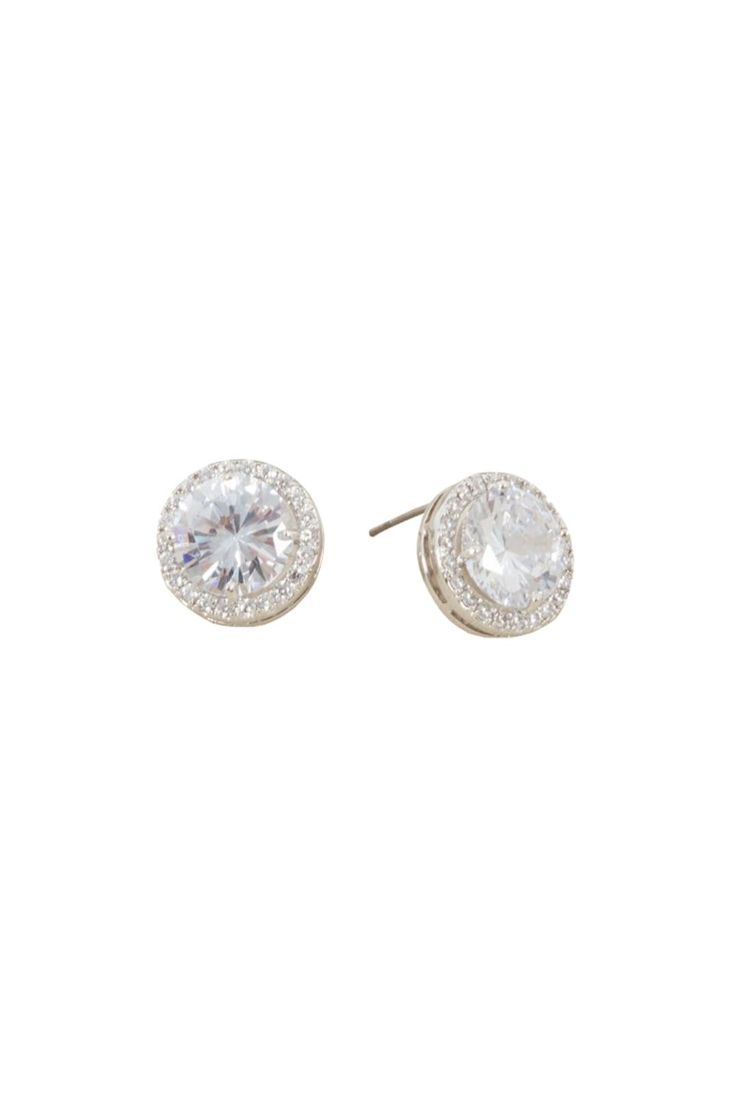 Adorne - CZ Diamante Edge Circle Jewel Stud Earring - Silver - Front