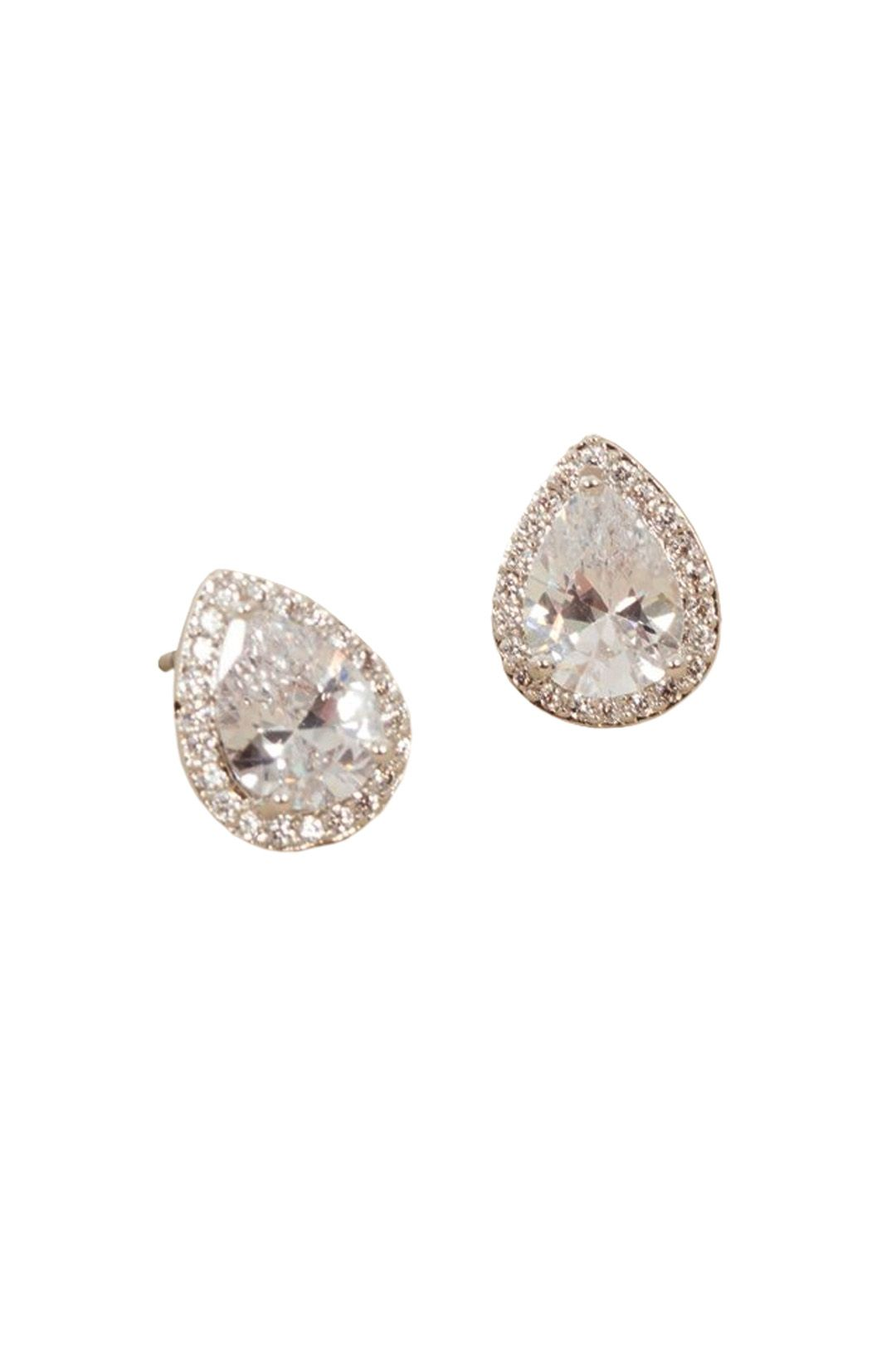 Adorne - CZ Diamante Edge Jewelled Pear Stud Earring - Silver - Front