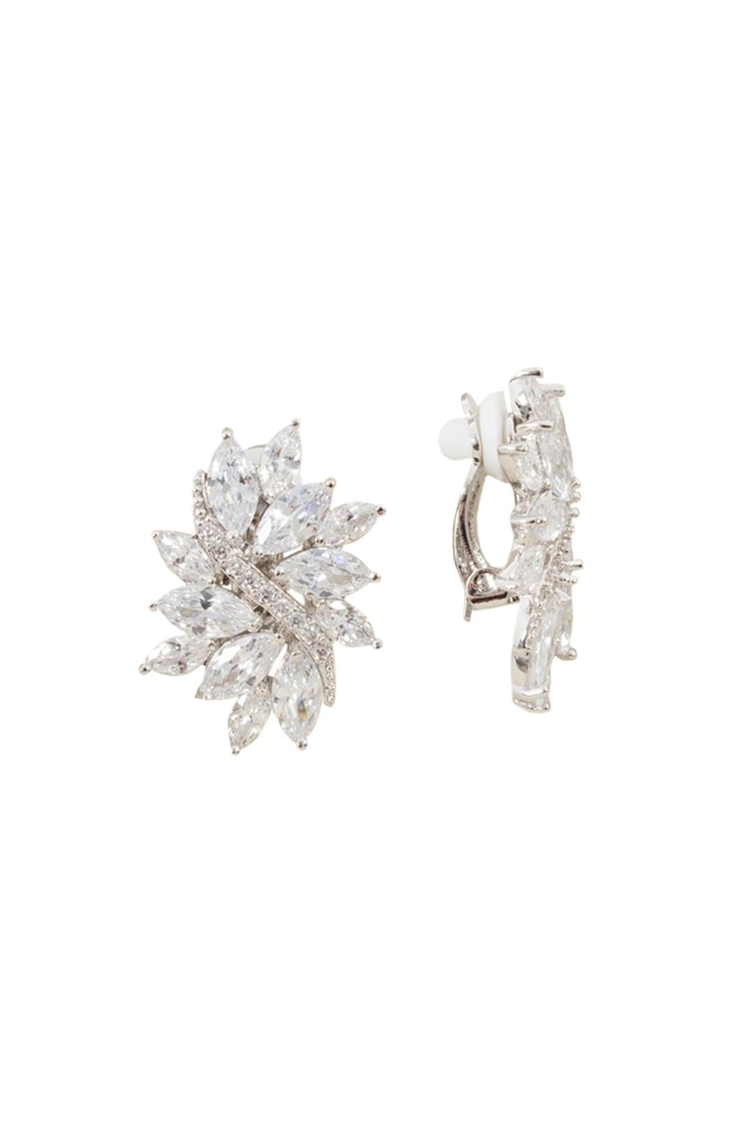 Adorne - CZ Diamante Vine Burst Clip On Earring - Silver - Front
