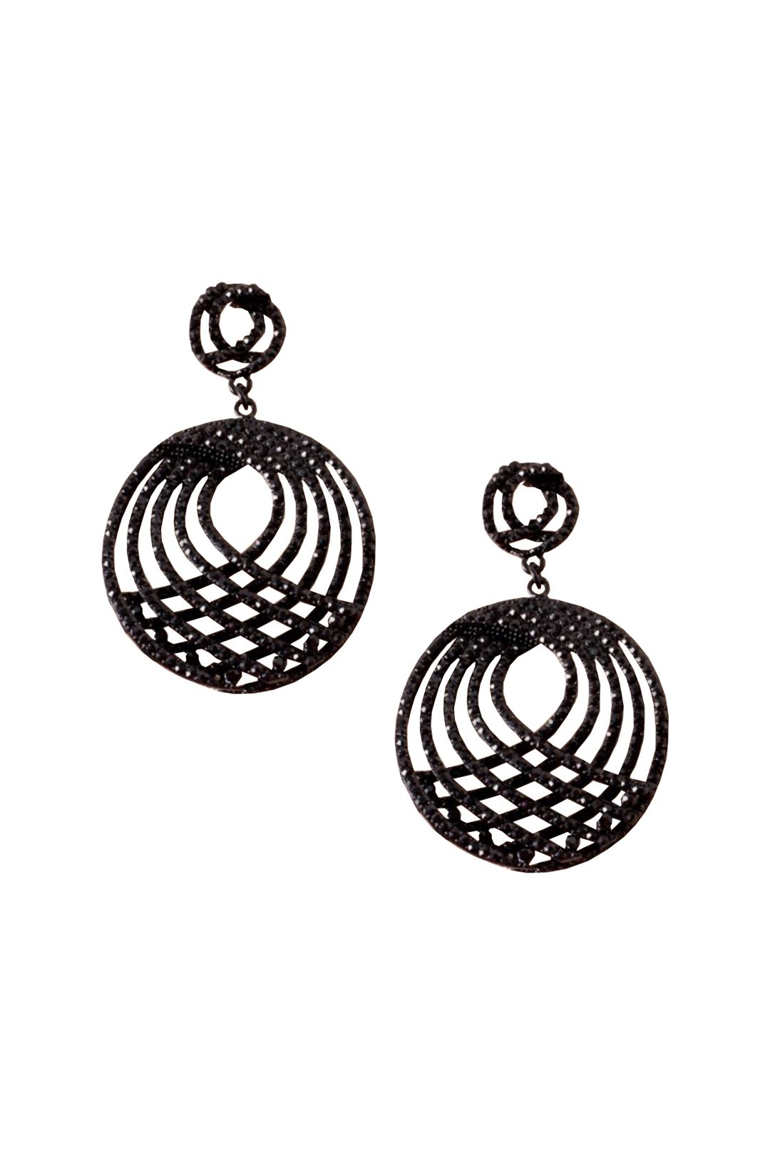 Adorne - Diamante Architectural Curved Earring - Black - Front