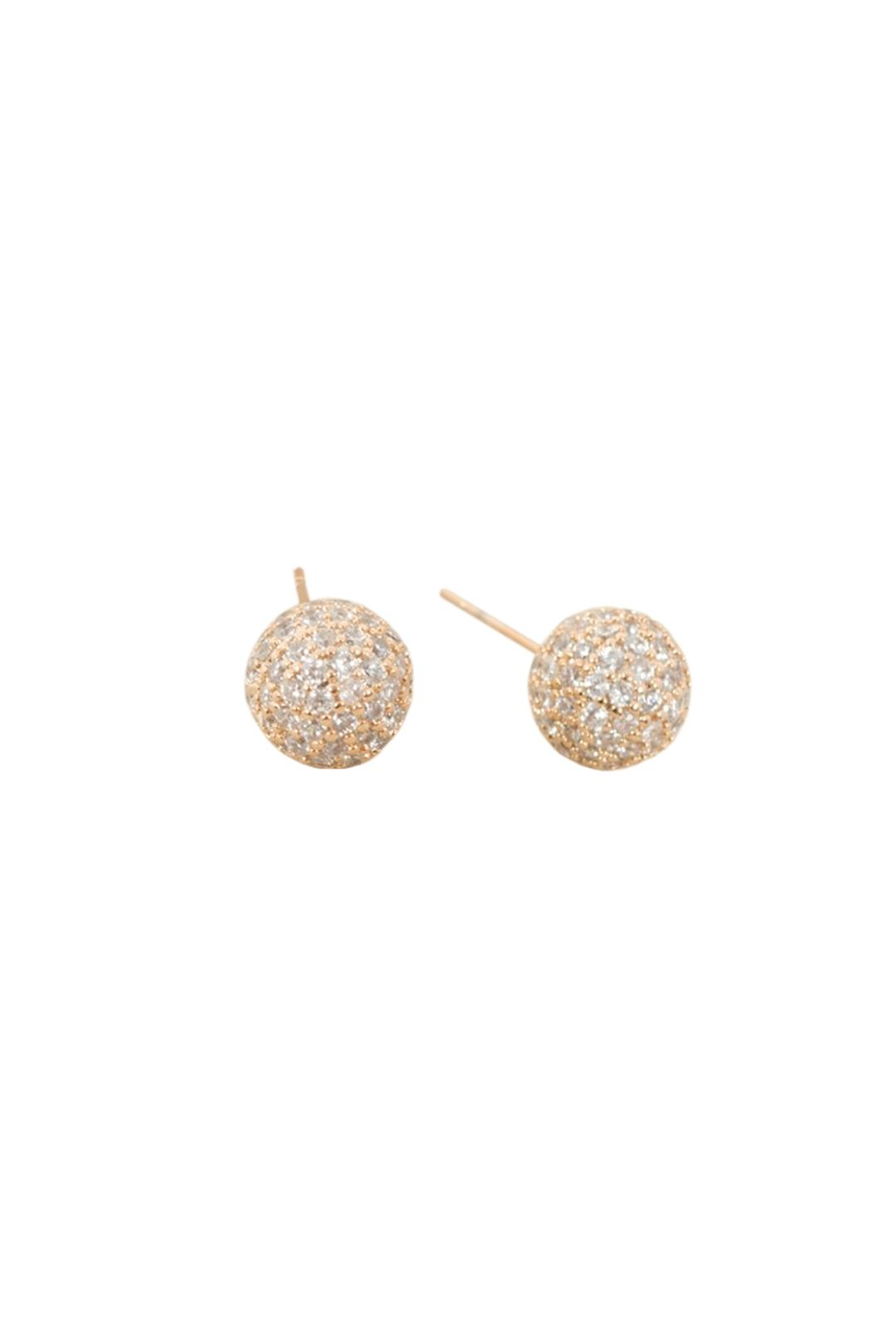 Adorne - Diamante Covered Ball Stud Earring - Gold - Front