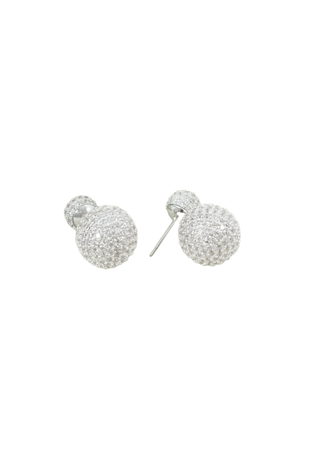 Adorne - Diamante Double Ball Stud Earring - Silver - Front