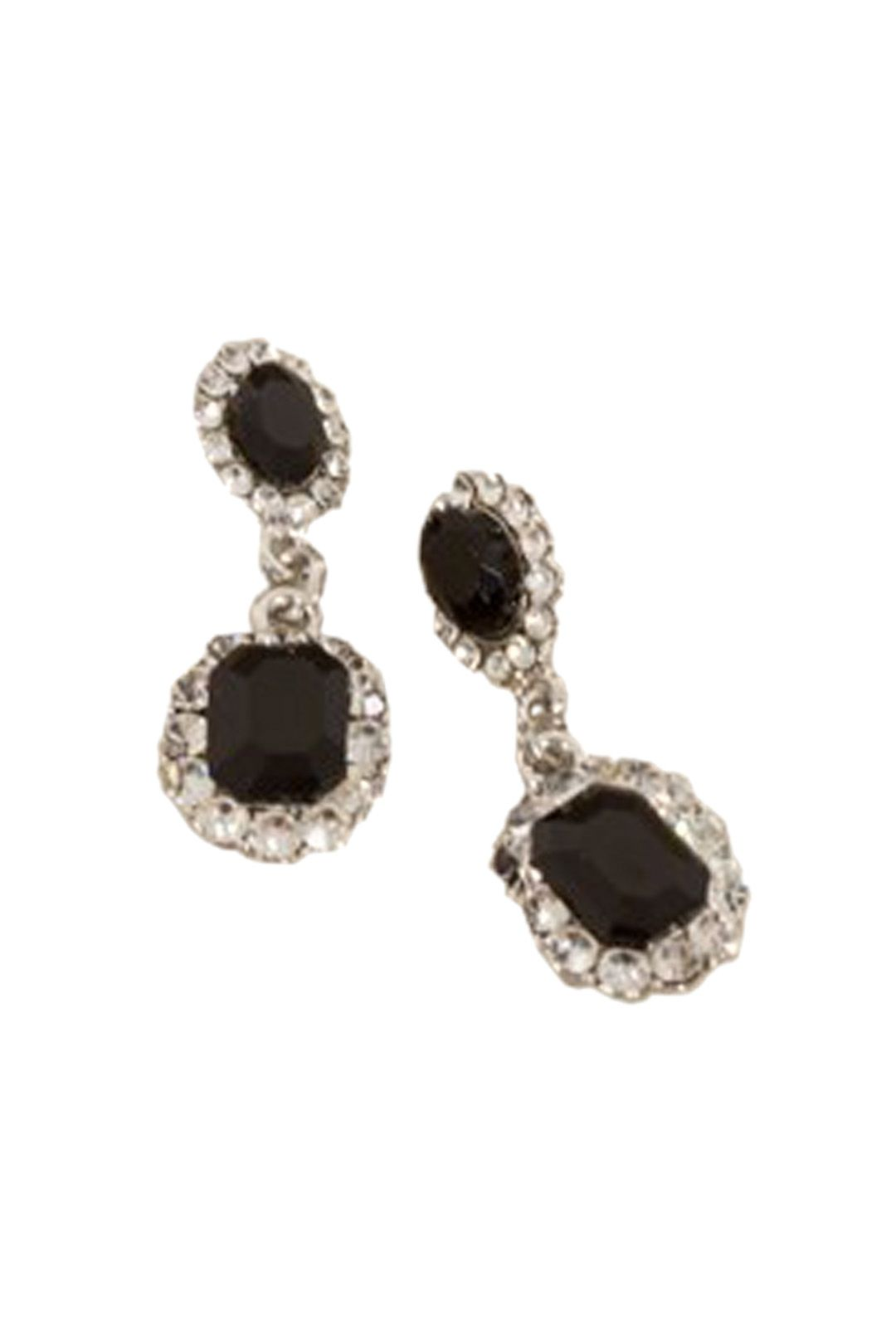 Adorne - Diamante Edge Mini Jewel Drop Earring - Silver Black - Front