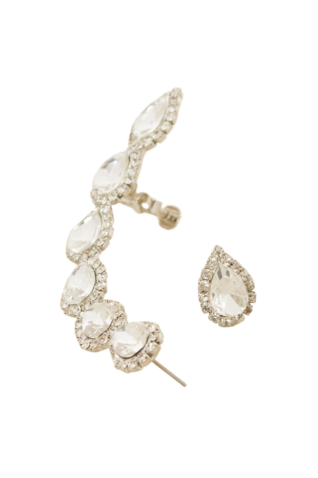 Adorne - Diamante Jewelled Teardrops Ear Cuff and Stud - Silver - Front