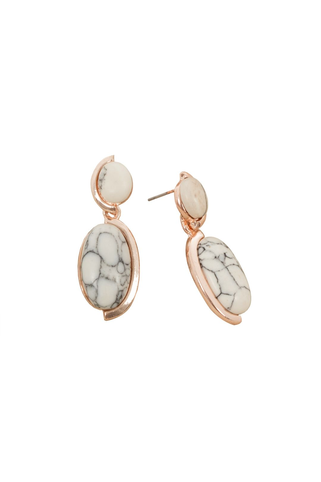 Adorne - Double Almond Drop Stone Stud Earring - Marble - Front