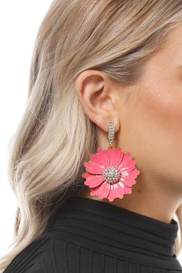 Adorne - Enamel Flower Diamante Centre Drop Earrings - Pink - Product