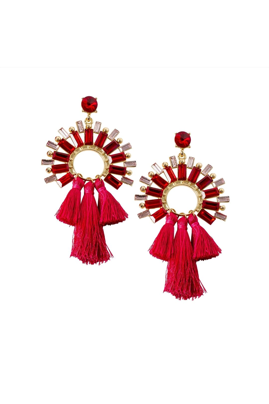 Adorne - Faceted Glass Circle and Three Tassel Earrings - Gold Red - Front