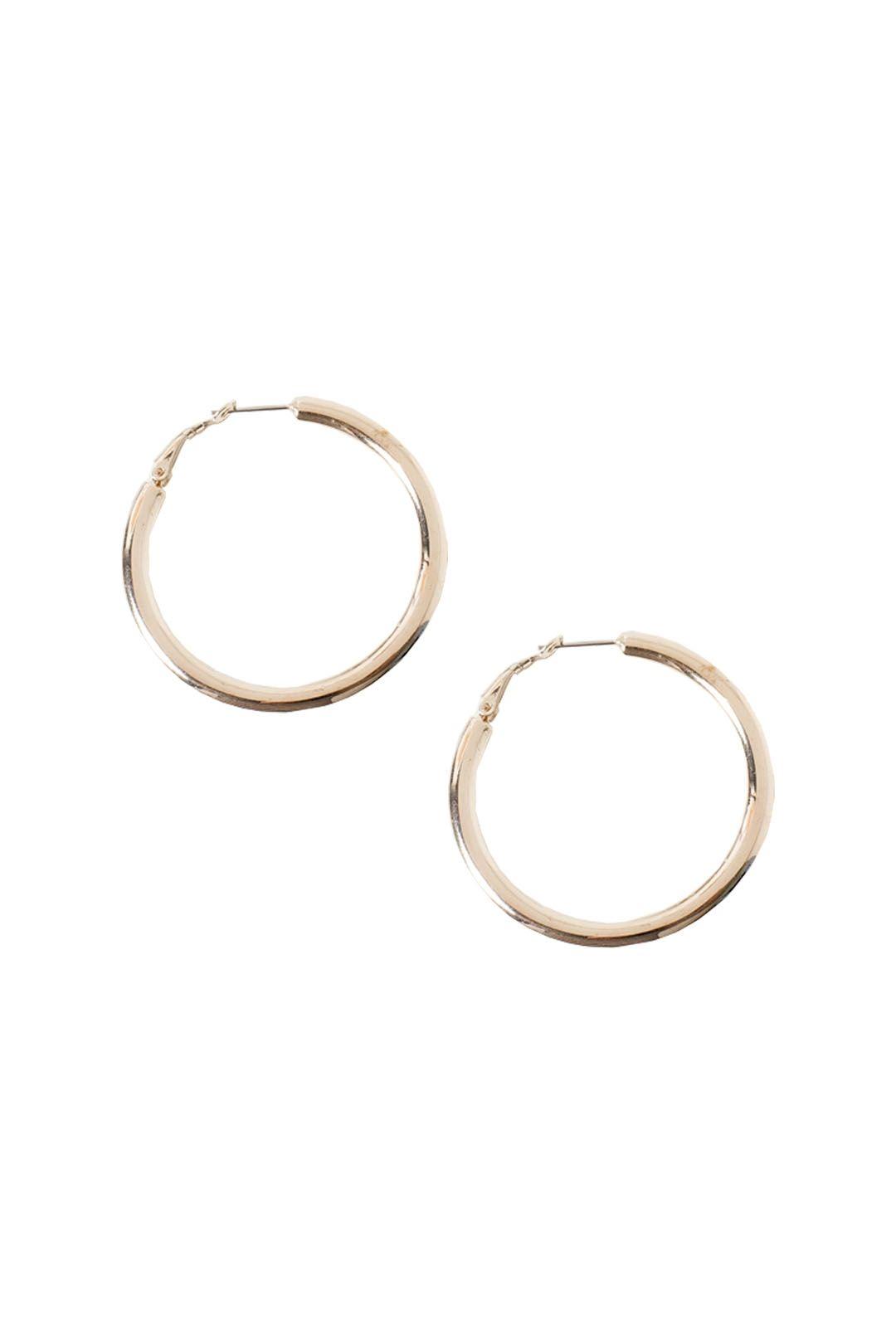 Adorne - Flat Medium Hoop Earring - Gold - Front