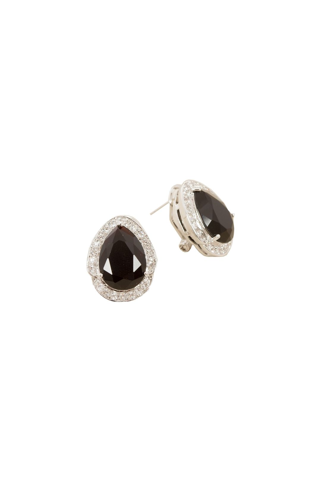 Adorne - Jewel Teardrop Diamante Edge Stud Earring - Silver Black - Front