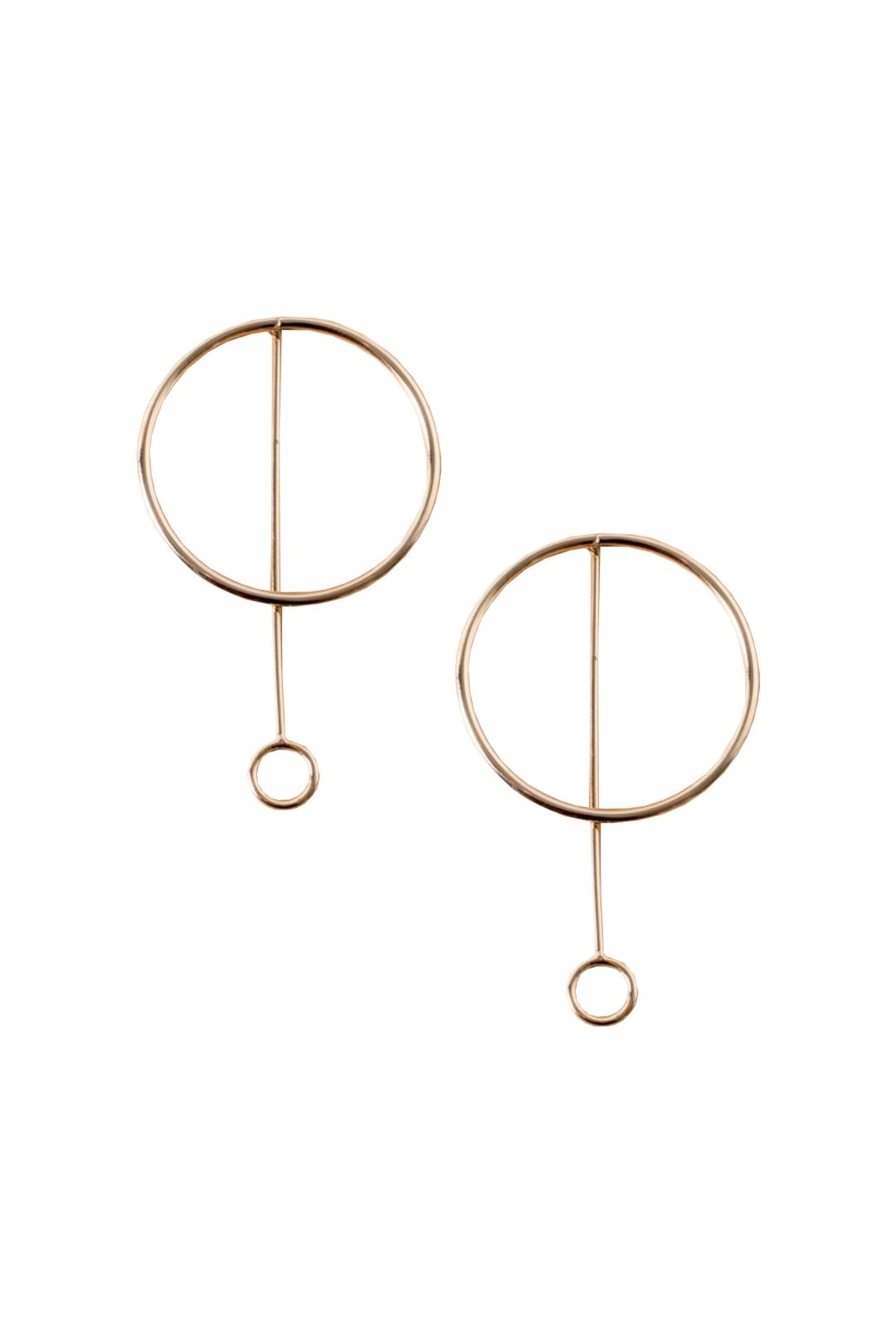 Adorne - Large Metal Ring Rod and Ring Drop Earring - Gold - Front