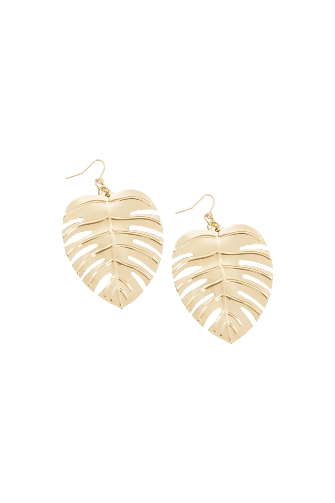Adorne - Lightweight Monstera Earrings - Gold - Front