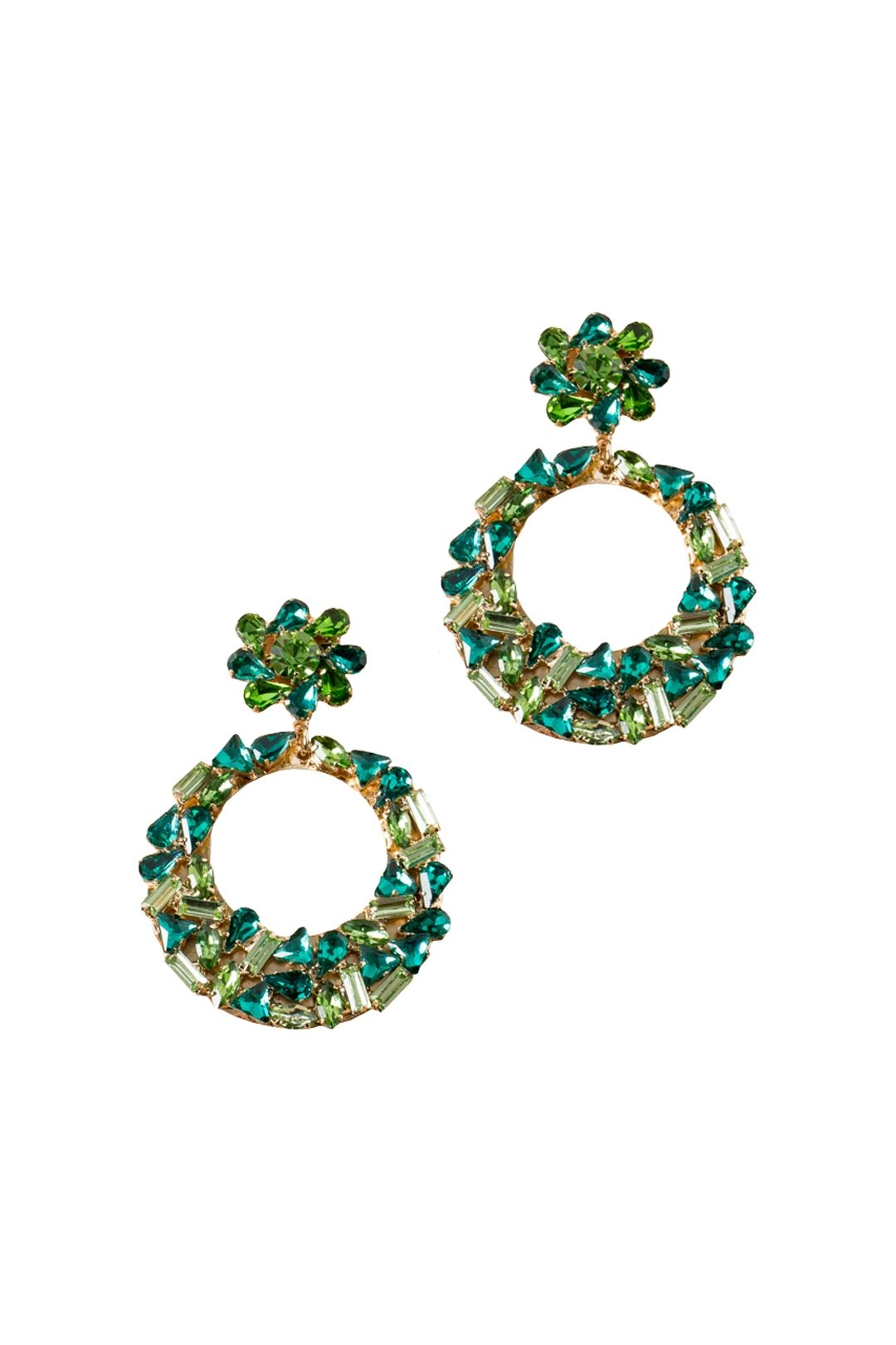 Adorne - Mixed Jewel Flower and Ring Drop Earring - Green Gold - Front