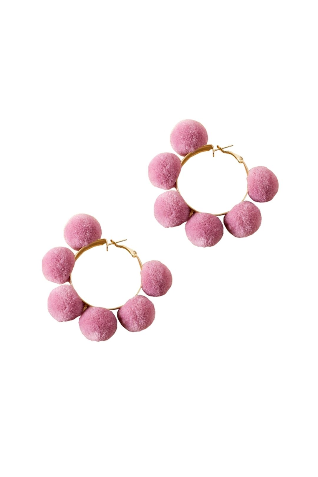 Adorne - Pom Pom Hoop Earrings - Pink Gold - Front