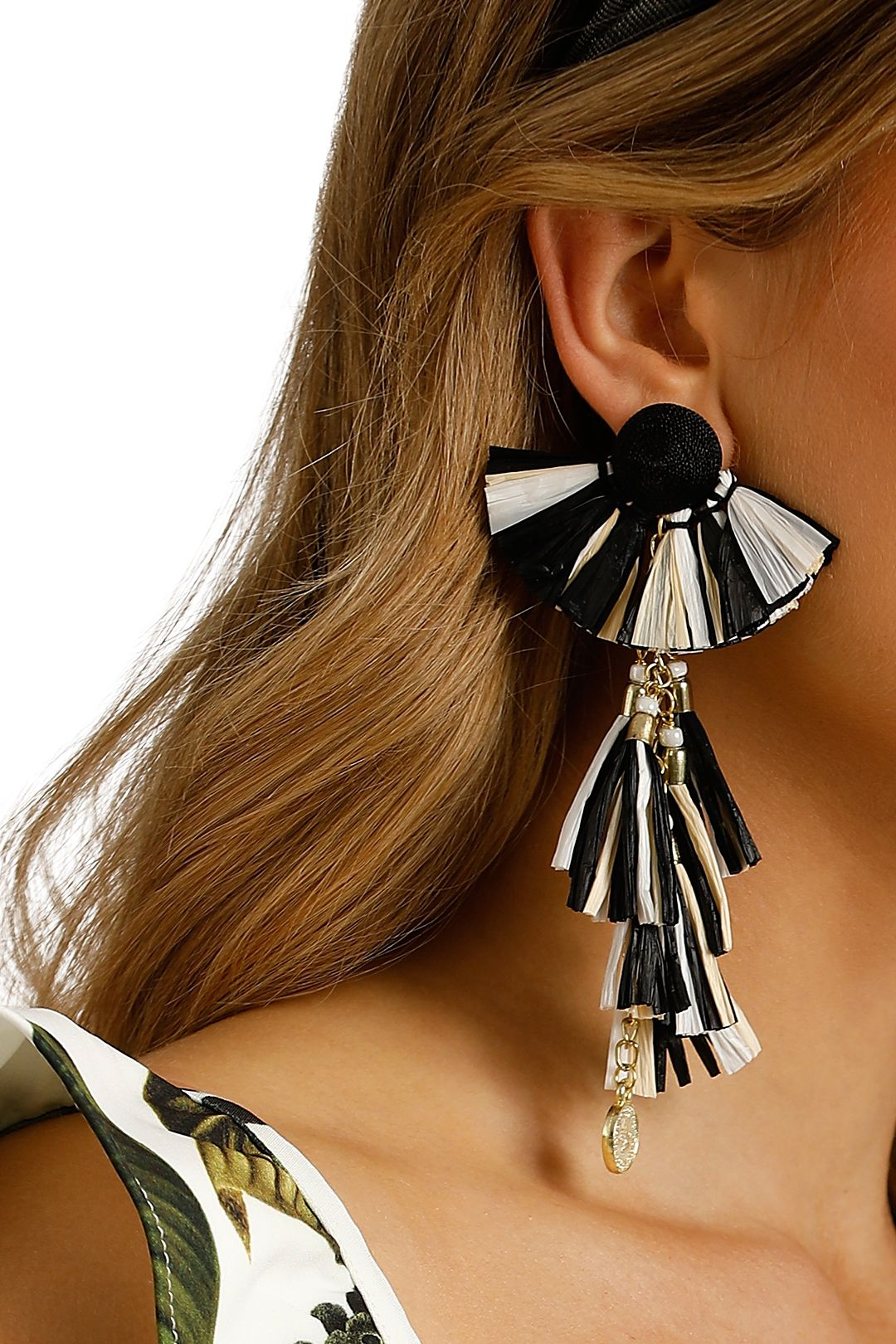Adorne - Raffia Disc and Chain Tassel Drop Earring - Black - Product