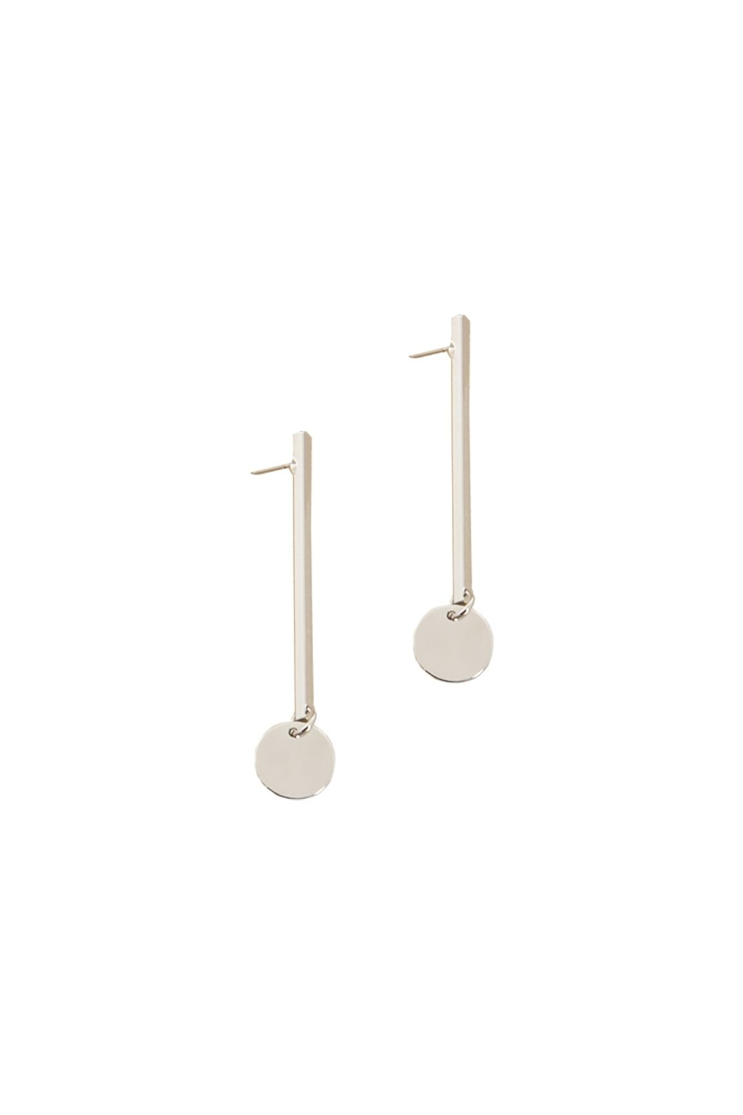 Adorne - Rod and Disc Drop Earring - Silver - Front