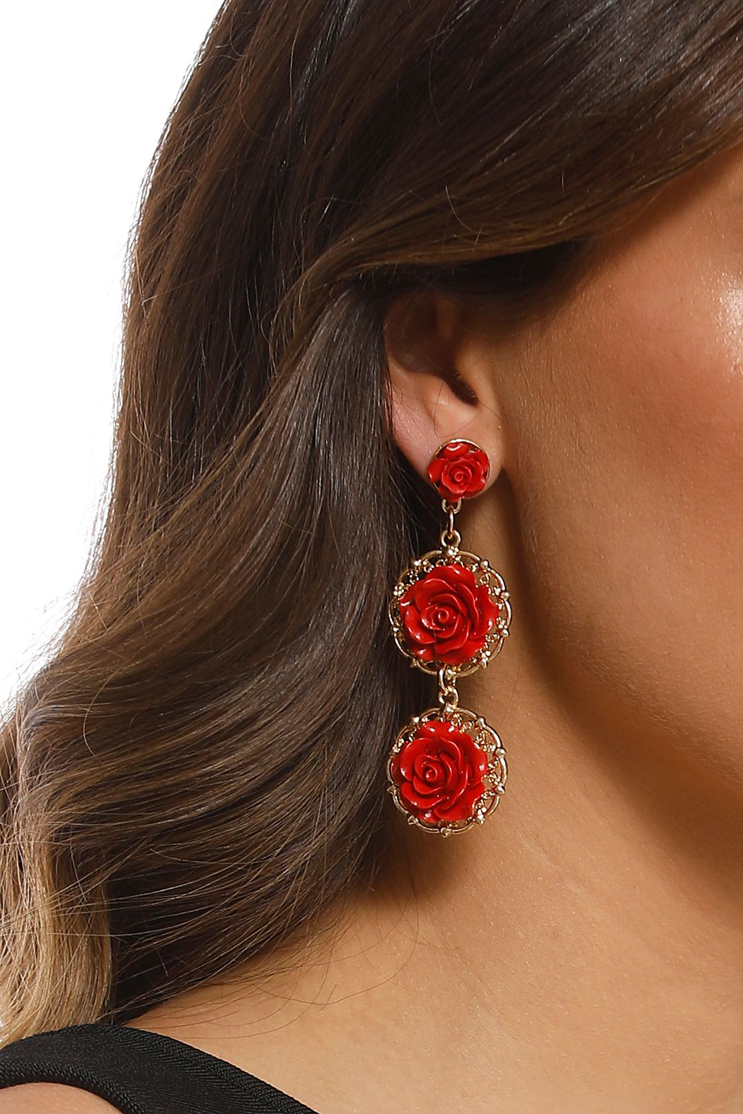 Adorne - Rose Queen Earrings - Red Gold - Product