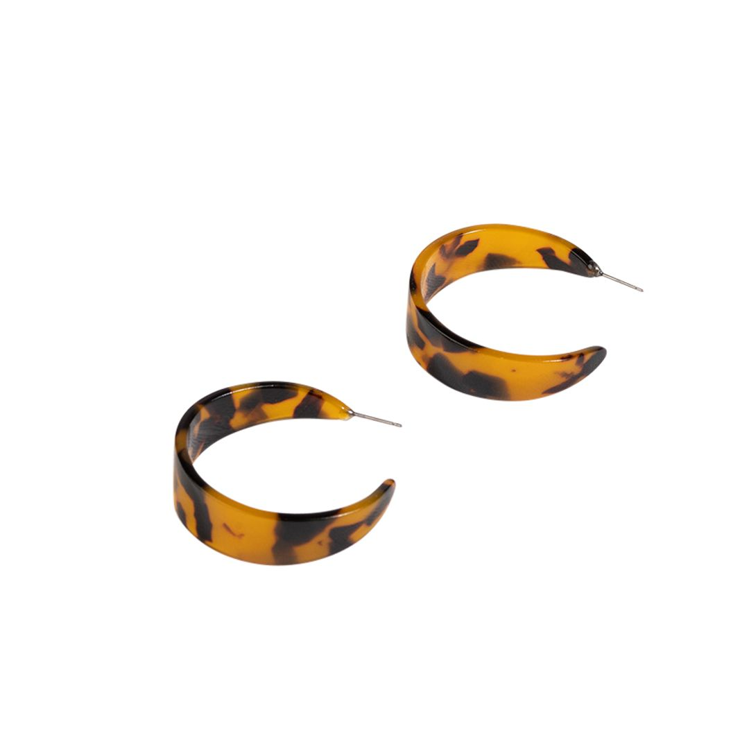 Adorne - Small Wide Resin Hoop Front Earrings - Tort - Product