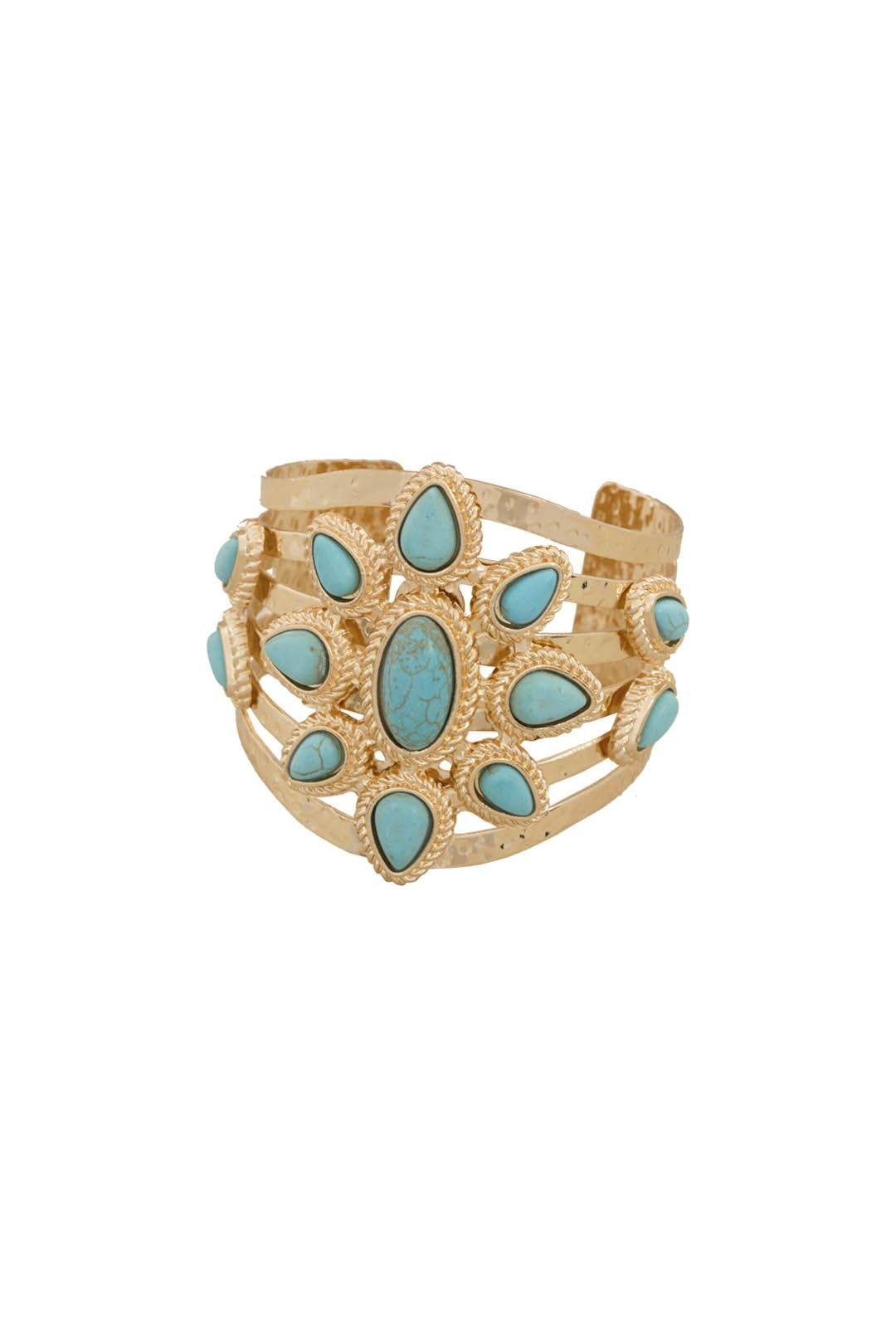 Adorne - Stone Teardrop Flower Cut-Out Metal Cuff - Blue and Gold - Front