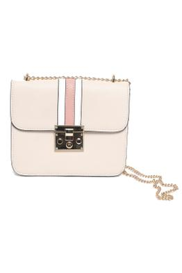 Adorne - Structured Striped Fold Over Shoulder Bag - Nude - Front