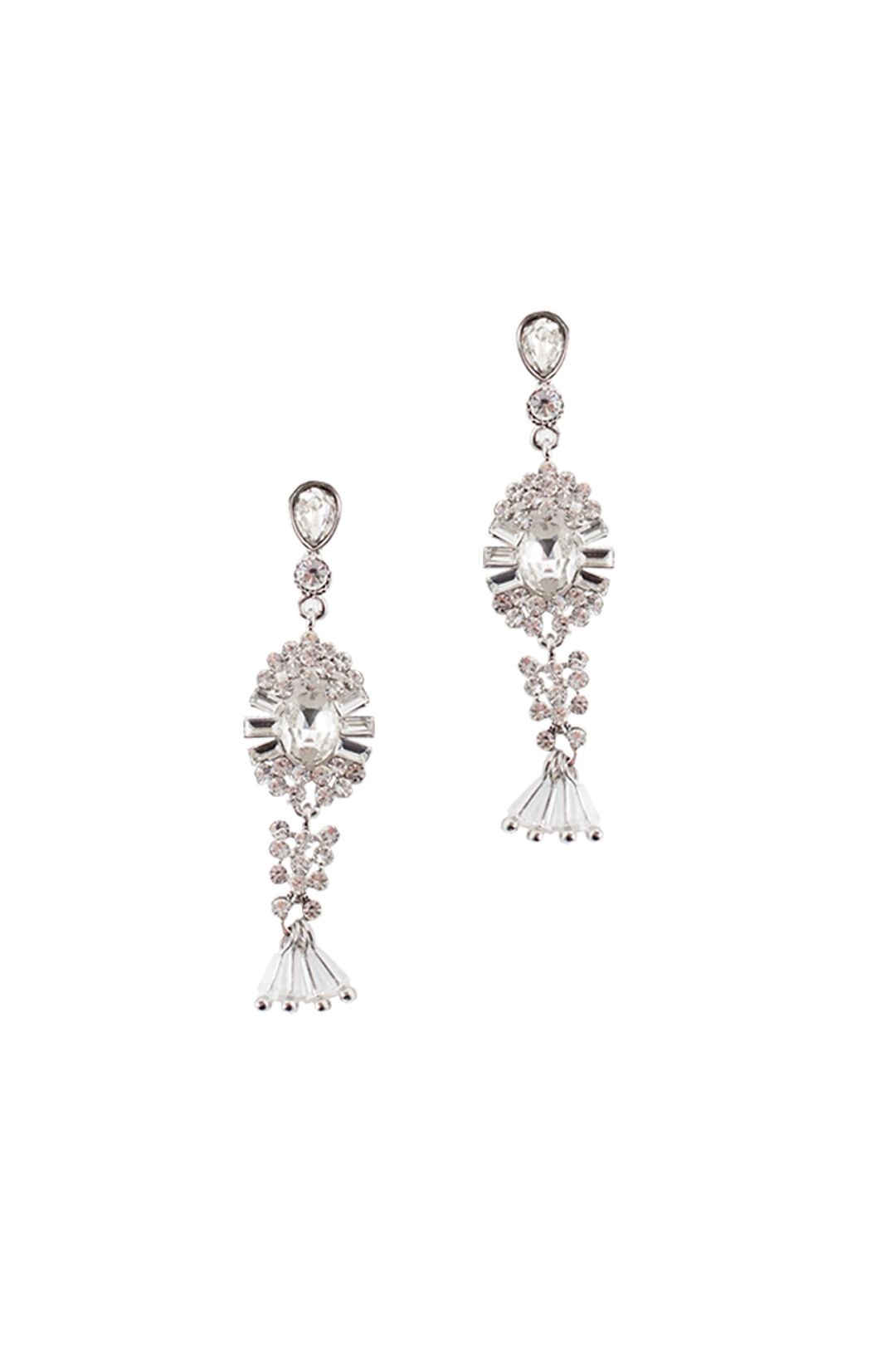 Adorne - Sun Crystal Bead Drop Earrings - Silver - Front