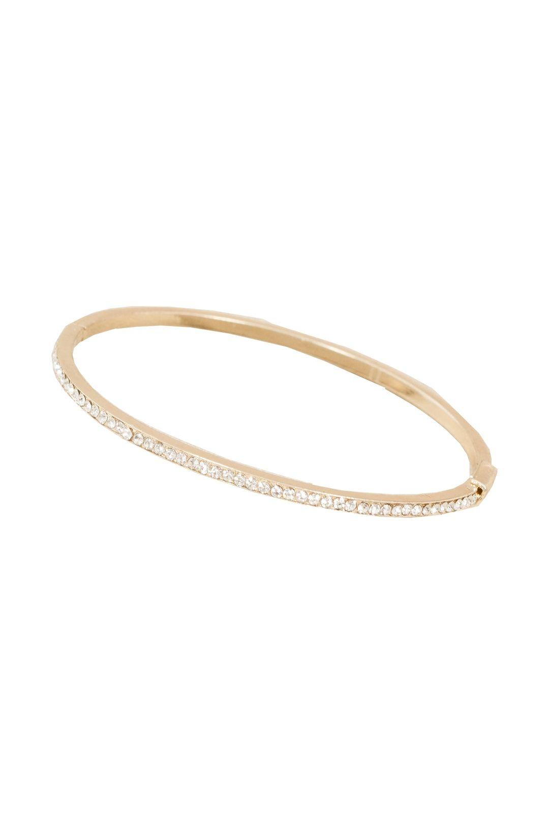 Adorne - Super Fine Diamante Hinge Bracelet - Gold - Front
