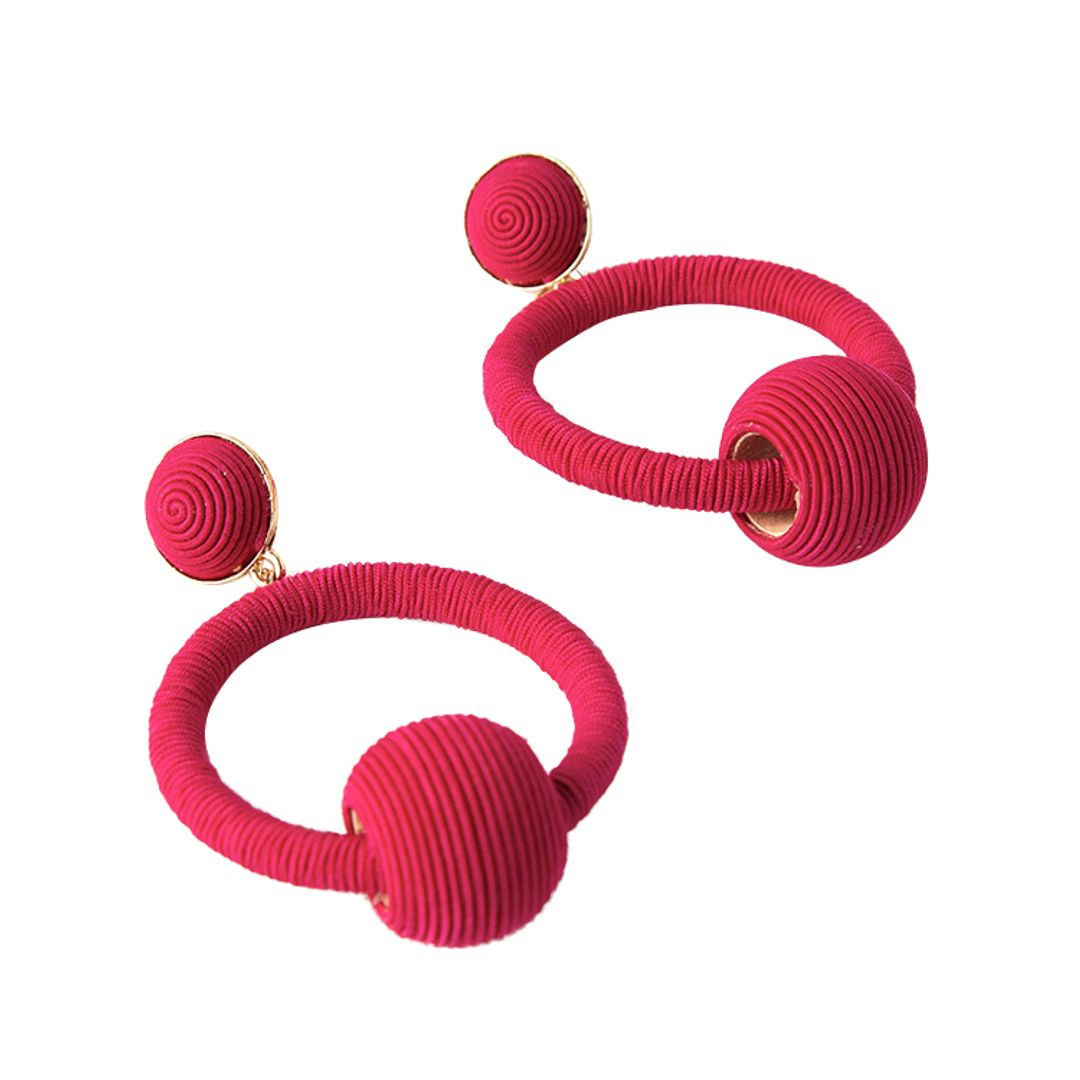 Adorne - Wound Twine Ring and Ball Drop Earrings - Pink - Product